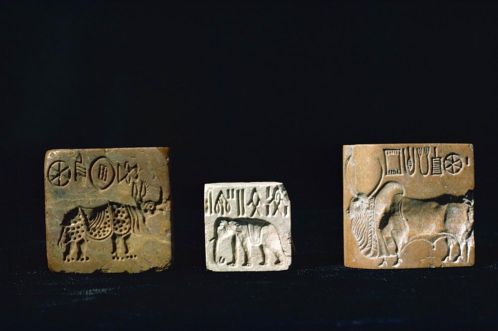 Seals from Mohenjodaro, Karachi Museum, Pakistan, Asia