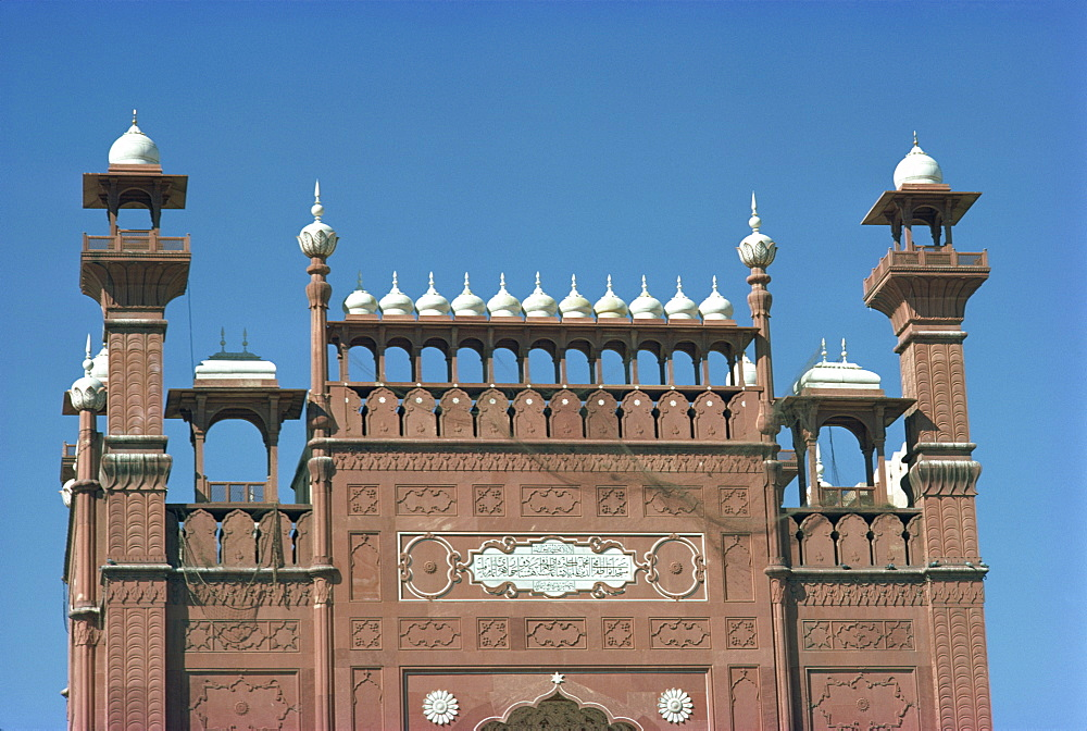 Close-up of domes and walls of the Badshahi mosque in Lahore, Pakistan, Asia
