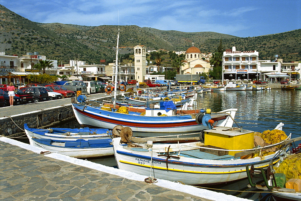 Fishing boats moored in the harbour at Elounda, near Agios Nikolas, Crete, Greece, Europe