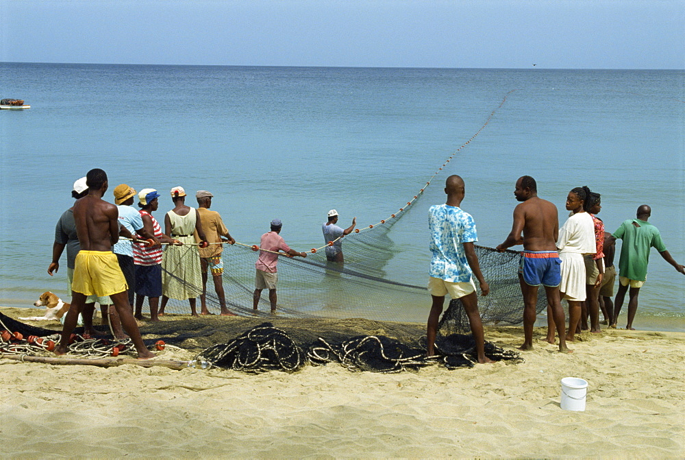 Fishermen on Turtle Beach, Tobago, West Indies, Caribbean, Central America