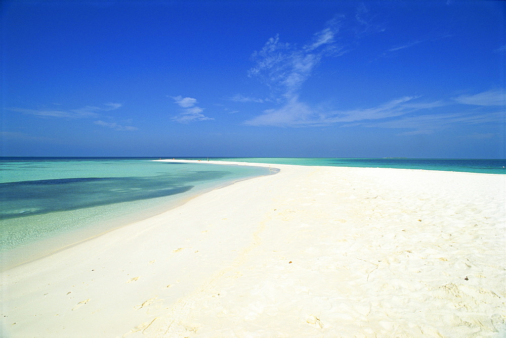 Empty tropical beach in the Maldive Islands, Indian Ocean, Asia