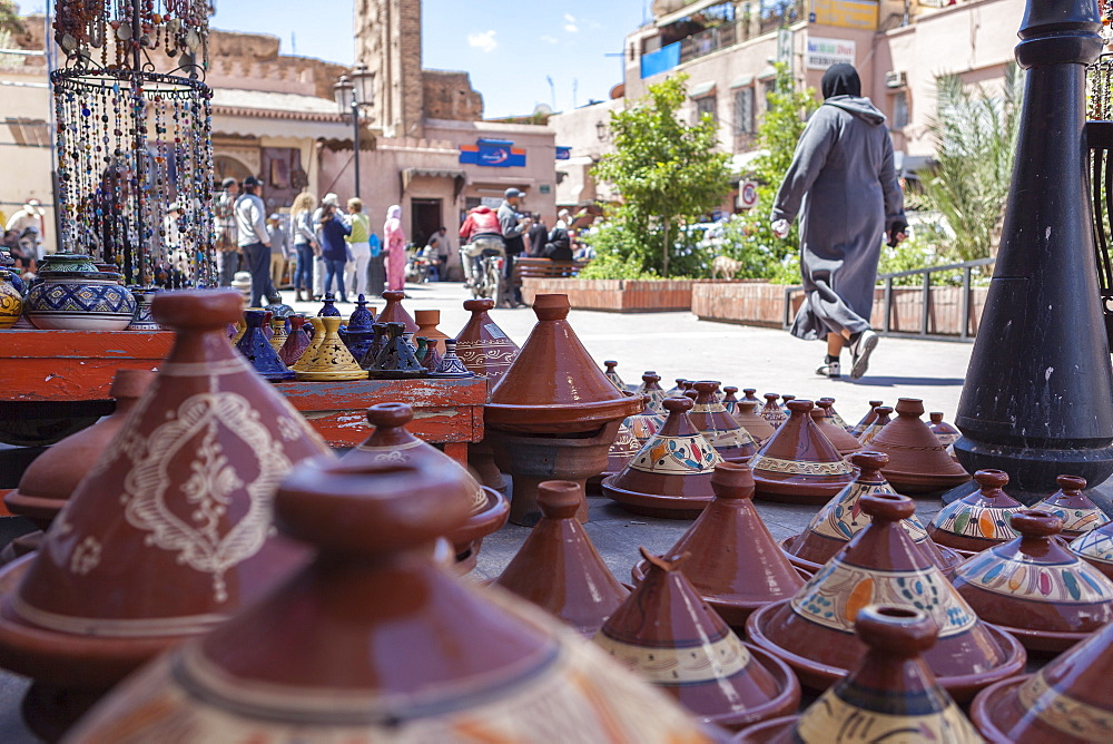 A street seller's wares, including tagines and clay pots near the Kasbah, Marrakech, Morocco, North Africa, Africa