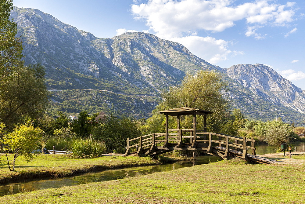A foot bridge with views of the Bay of Kotor, Morinj, Montenegro, Europe