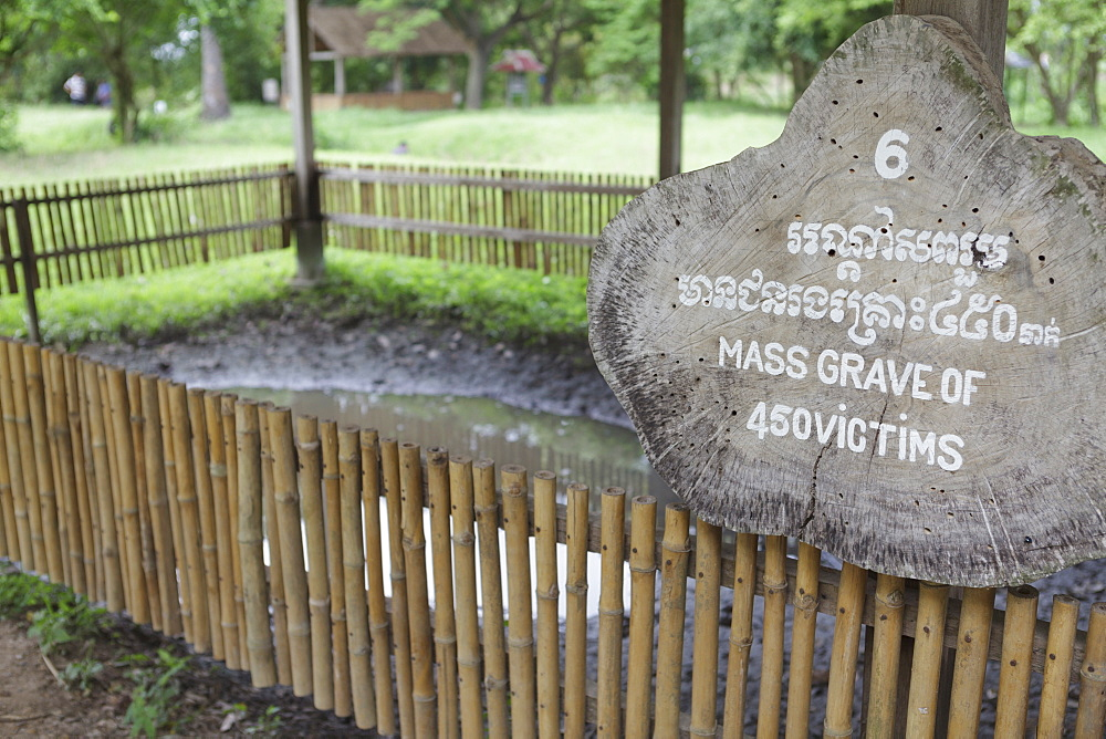 A mass grave of the victims of the Khmer Rouge, The Killing Fields at Choeung Ek, Cambodia, Indochina, Southeast Asia, Asia