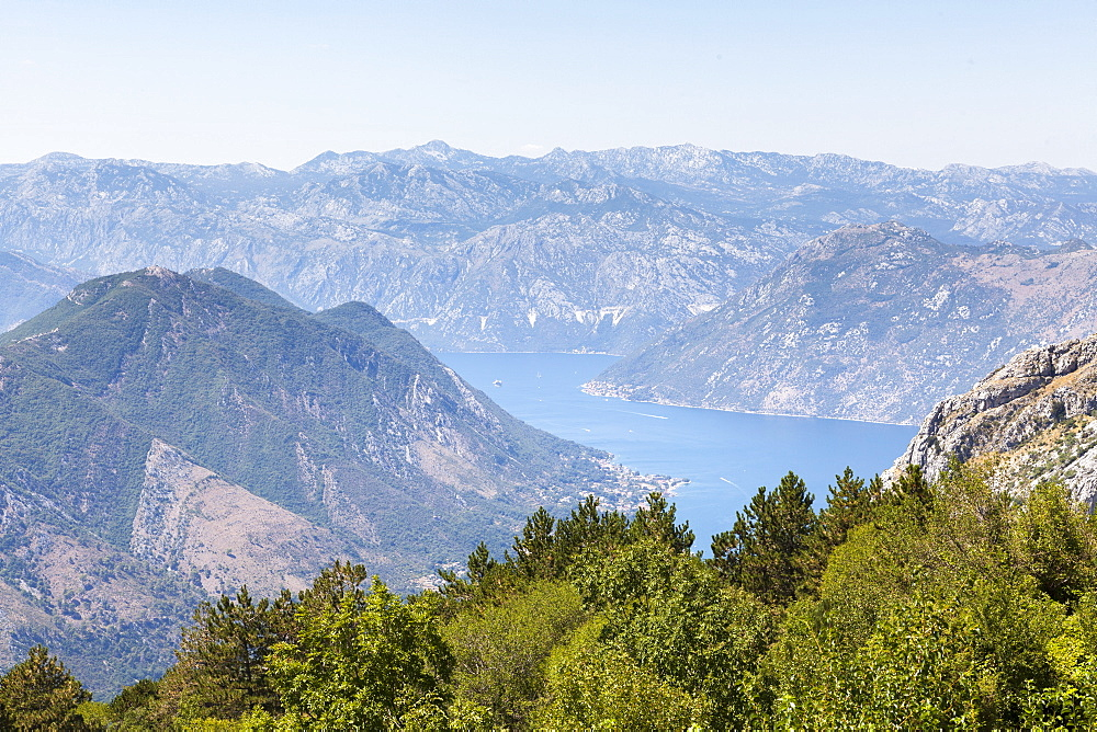 Views of the Bay of Kotor, just outside of Lovcen Nation Park, Njegusi, Montenegro, Europe