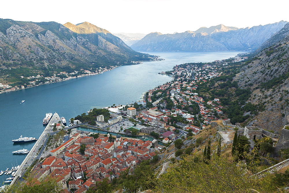 Kotor Old Town, marina and fortifications at dawn with view of the Bay of Kotor, UNESCO World Heritage Site, Montenegro, Europe