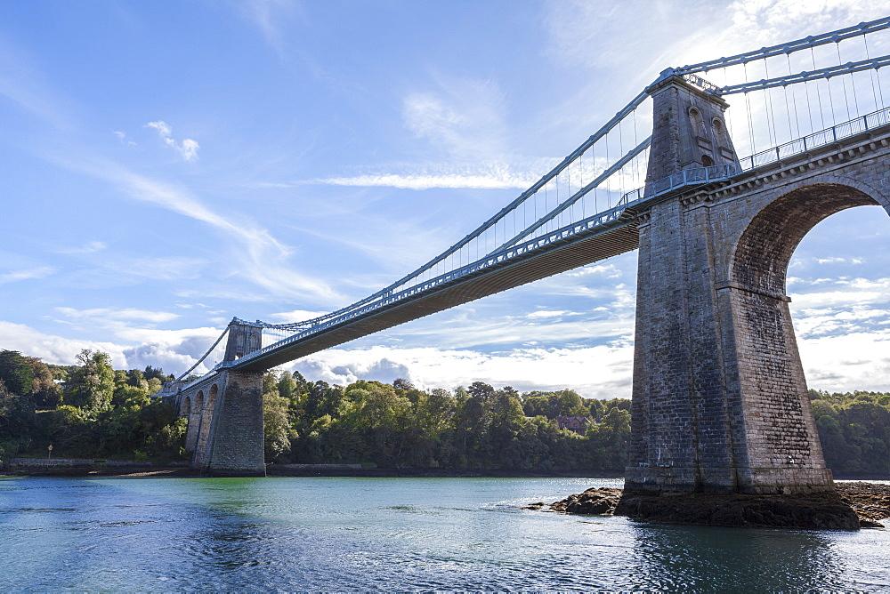 Menai Bridge spanning the Menai Strait, Anglesey, Wales, United Kingdom, Europe