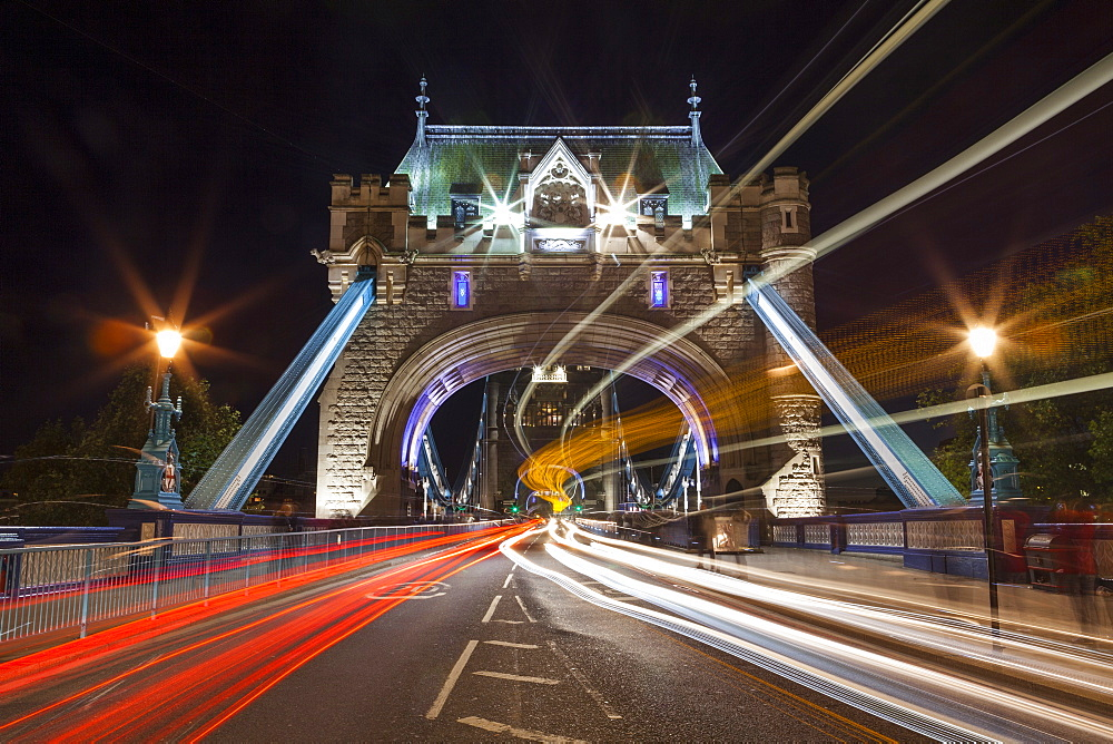 Long exposure of traffic over Tower Bridge at dusk, London, England, United Kingdom, Europe - 10-248