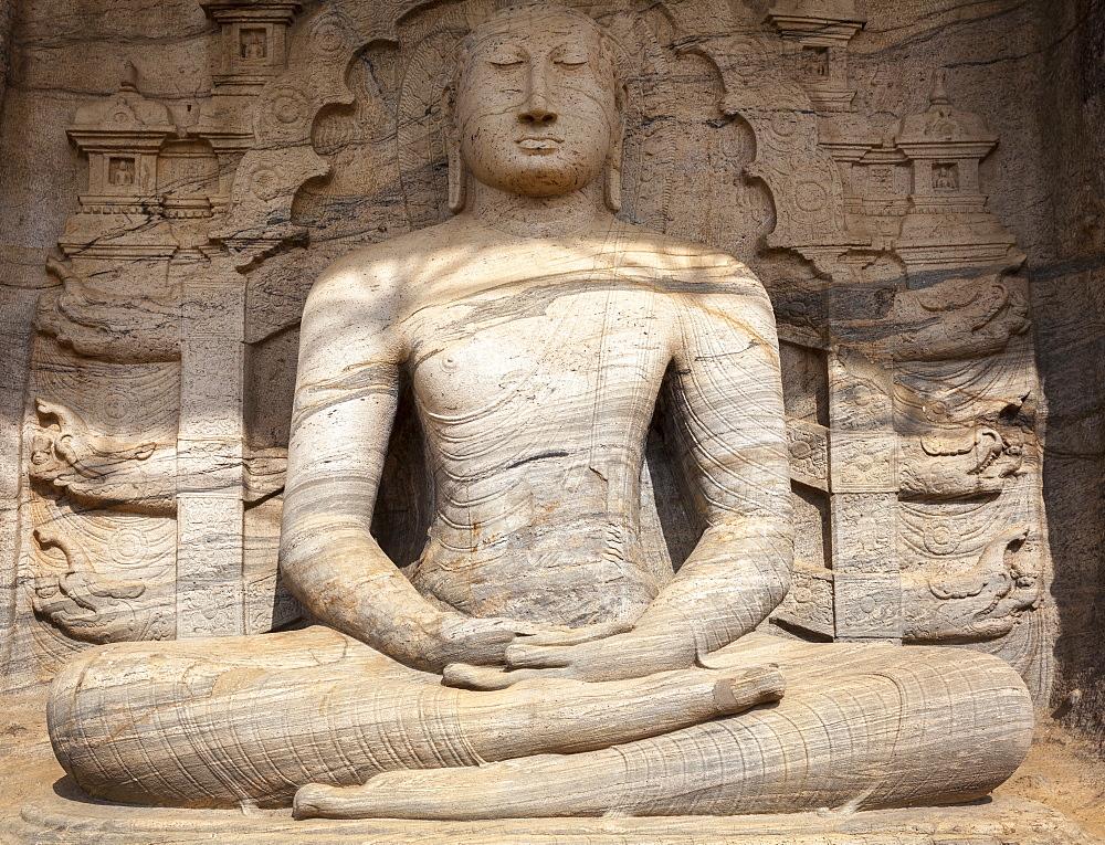 Sitting Buddha, Gal Vihara, Polonnaruwa, UNESCO World Heritage Site, Sri Lanka, Asia