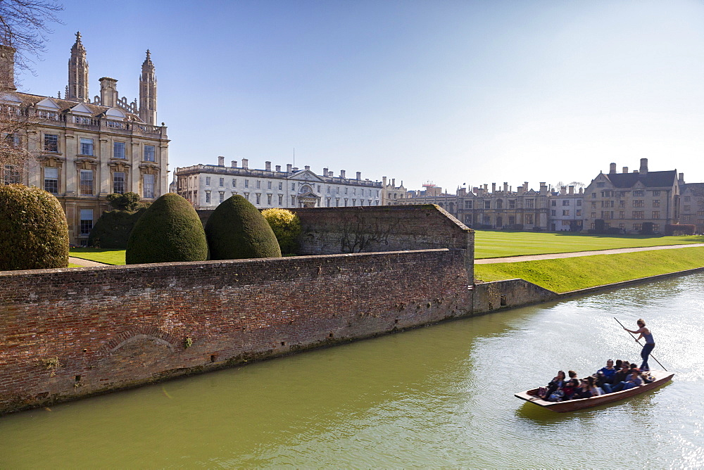 A view of Kings College from the Backs with punting in the foreground, Cambridge, Cambridgeshire, England, United Kingdom, Europe