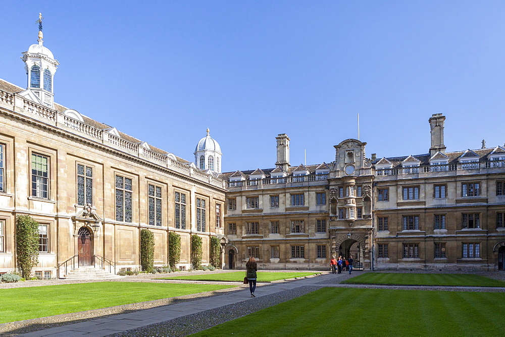 The courtyard, Clare College, Cambridge, Cambridgeshire, England, United Kingdom, Europe