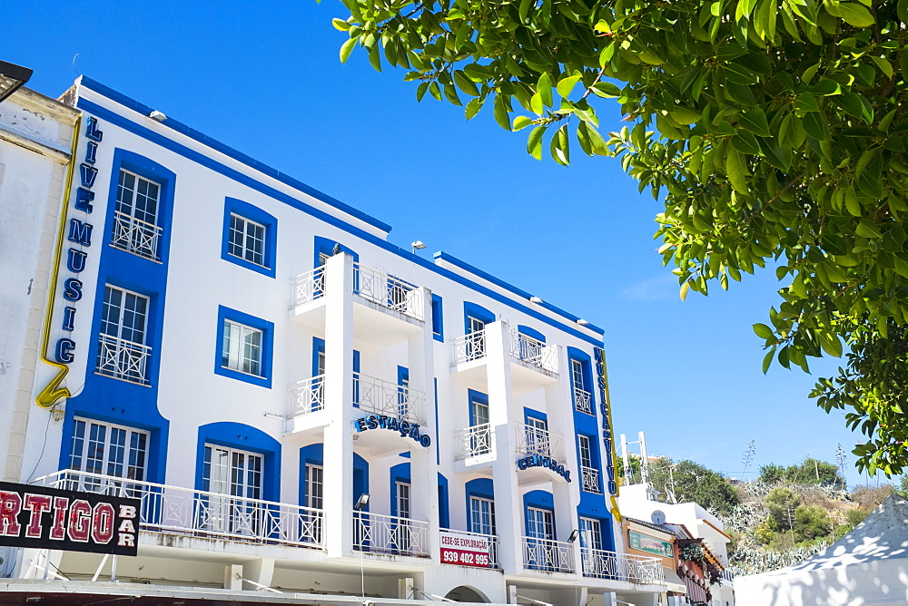 Art deco inspired building in the Old Town, Albufeira, Algarve, Portugal, Europe - 10-412