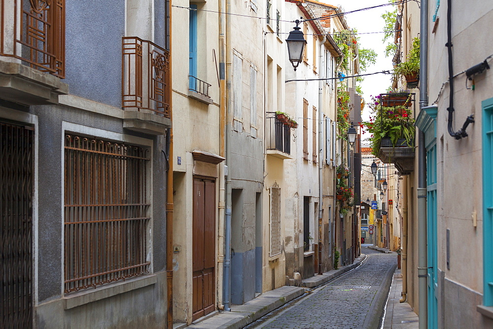Old town streets, Ceret, Vallespir region, Pyrenees, France, Europe - 10-437