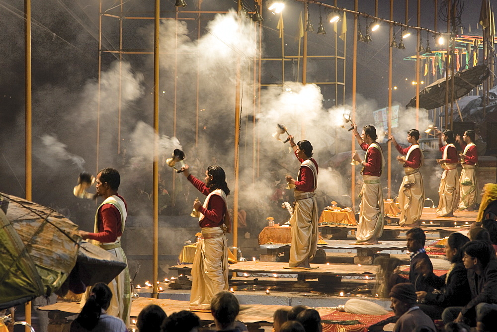 Devotees to the god Shiva perform a sacred Puja at Dasaswamedh Ghat, Varanasi  - 1005-98