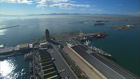 Aerial, Cape Town, waterfront and Two Oceans Aquarium. South Africa