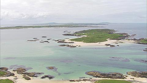 Aerial, Coll, Scotland, along coast towards Tiree, Scotland, UK