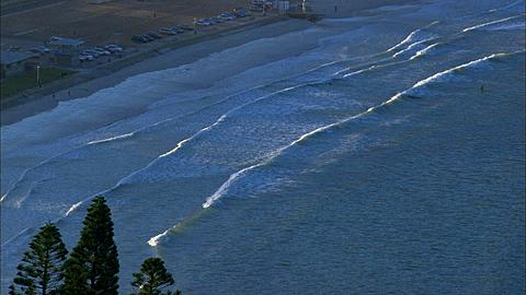 Fish Hoek scenic waves on beach, zoom to South Africa
