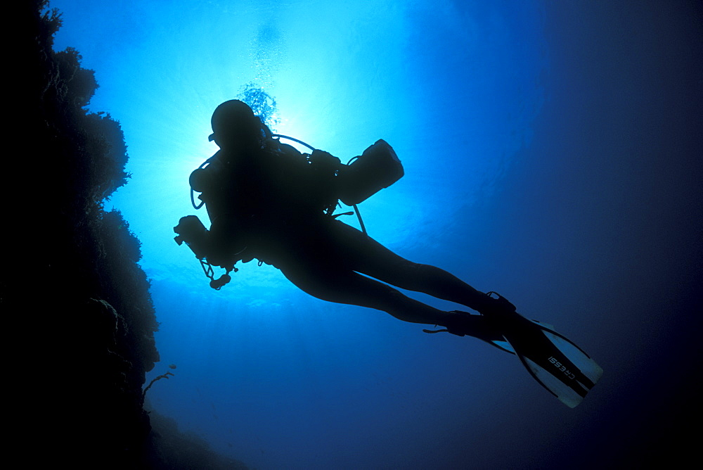Underwater photographer, diver, silhouetting under sun. Gorontalo, Sulaweis, Indonesia.   (rr)