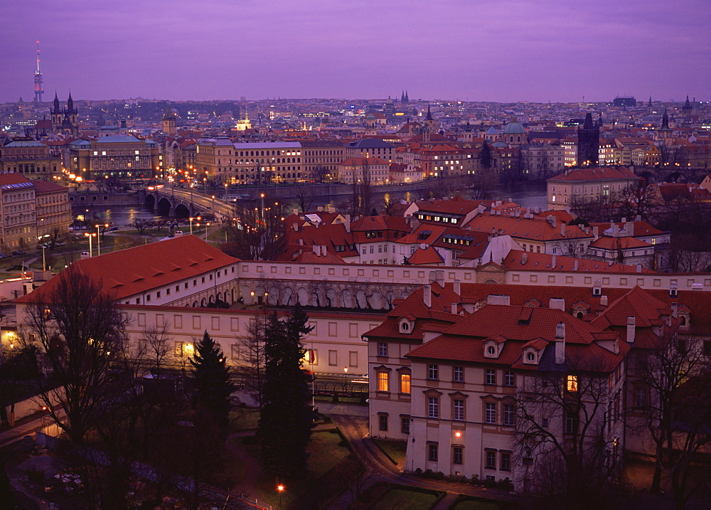 Prague city at dusk as seen from Prague Castle, Prague, Czech Republic - 1024-264