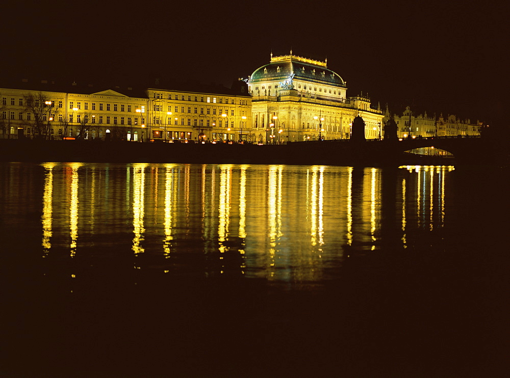 Prague National Theatre at night, Prague, Czech Republic. - 1024-268