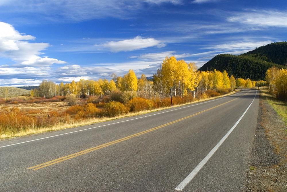American highway through Grand Teton National Park, Wyoming, USA