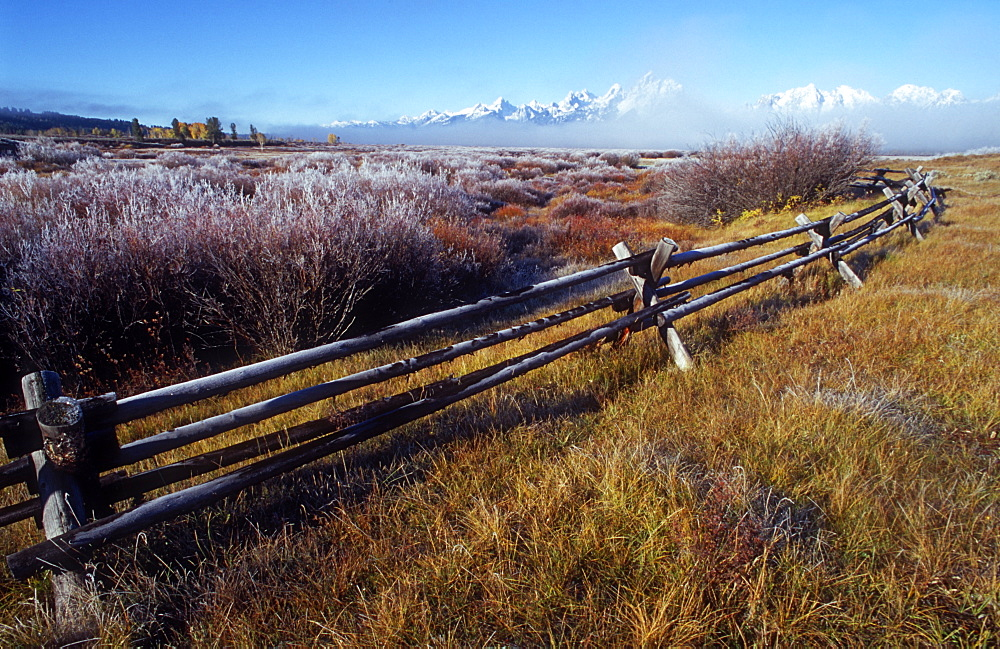 Picket fence and Teton Mountain range, Grand Teton National Park, Wyoming, USA - 1024-281