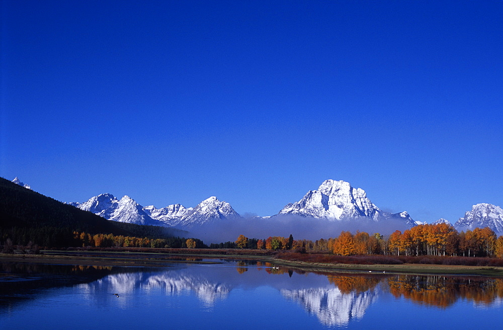Grand Teton National Park from Oxbow bend of Snake River, Wyoming, USA