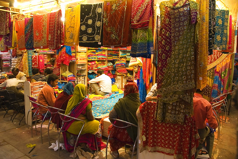 Women shopping for saris, Jaipur, Rajasthan, India - 1024-358