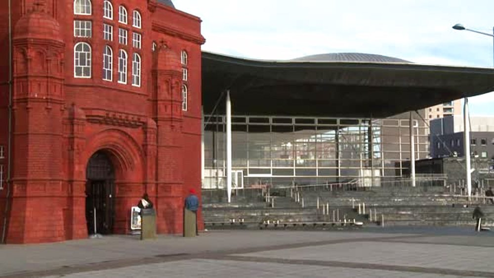 (wide shot) pierhead building & Senedd, Cardiff Bay, Cardiff, Wales, United Kingdom