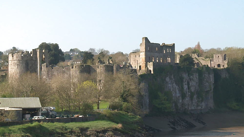(wide shot) castle, Chepstow, Wales, United Kingdom, Europe