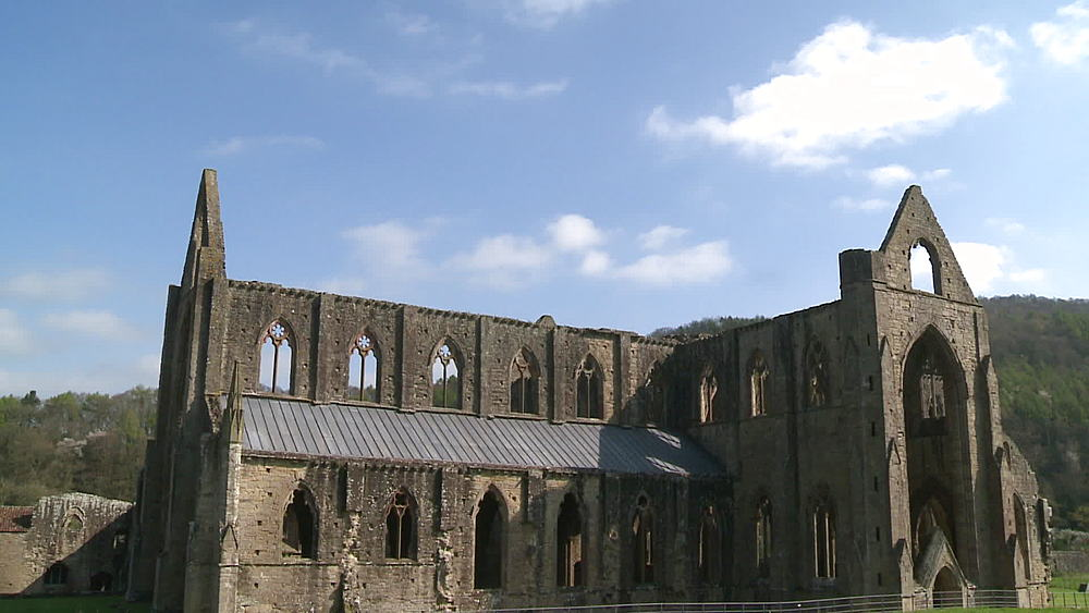 (medium wide shot) abbey, Tintern, Wales, United Kingdom, Europe