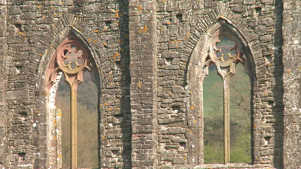 (medium shot) abbey window (wide shot) and pan, Tintern, Wales, United Kingdom, Europe