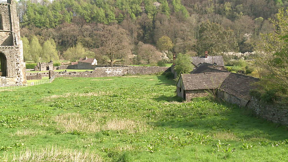 (wide shot) abbey outbuildings, Tintern, Wales, United Kingdom, Europe