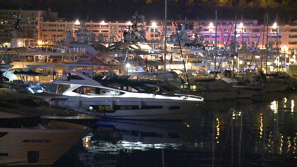 harbour with yachts wide shot at night