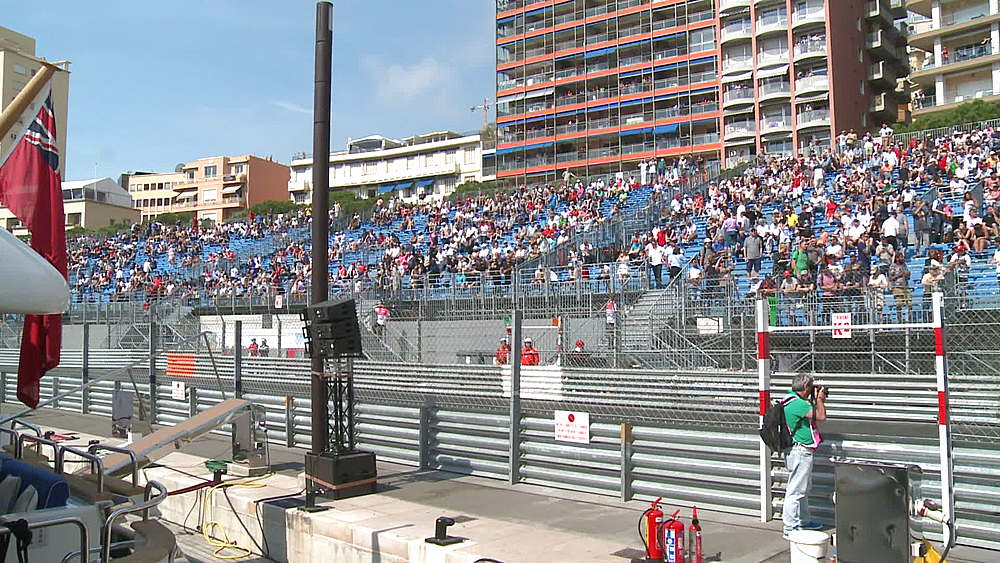 wide shot track stadia fans gathering practice session