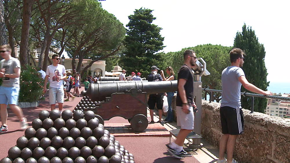 wide shot cannon & tourists