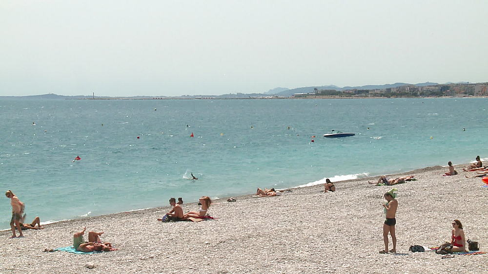 wide shot beach with bathers