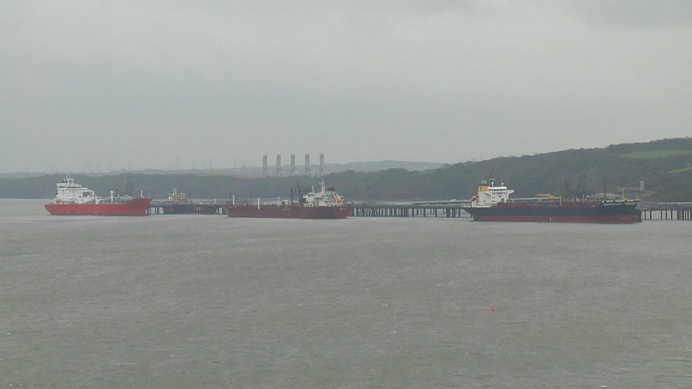 Tankers, Milford Haven, Wales, United Kingdom (wide-shot)