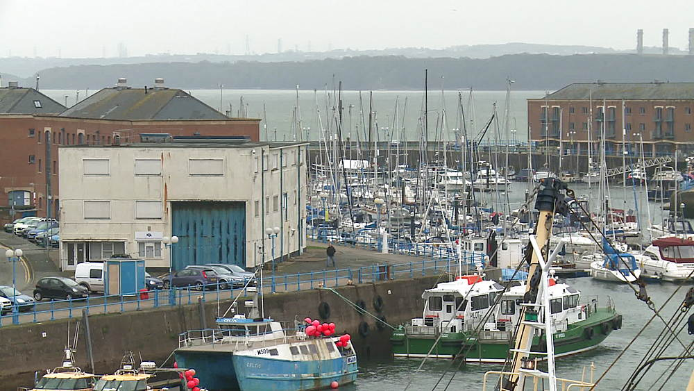 Fishing boats at quayside, Milford Haven, Wales, United Kingdom (wide-shot) - 1031-2252