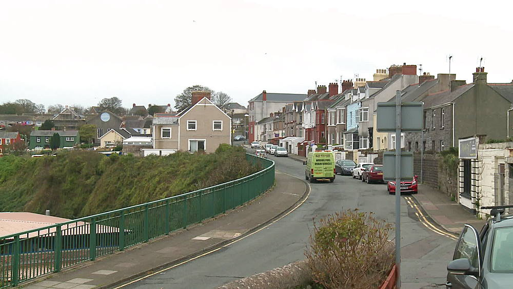 Street overlooking harbour, Milford Haven, Wales, United Kingdom (medium-shot) - 1031-2256