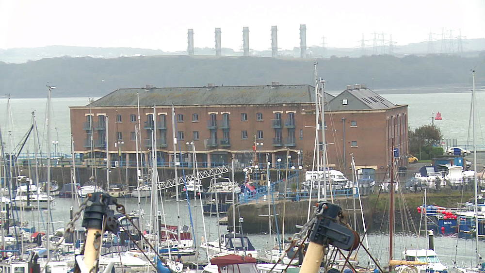Harbour with refinery in the background, Milford Haven, Wales, United Kingdom - 1031-2258