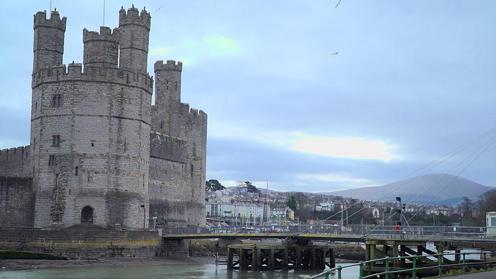 towers flags and people on footbridge - 1031-2362