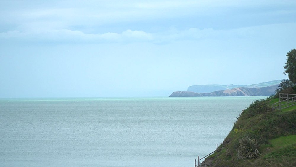 coast scene with Ynys Lochtyn headland - 1031-2377