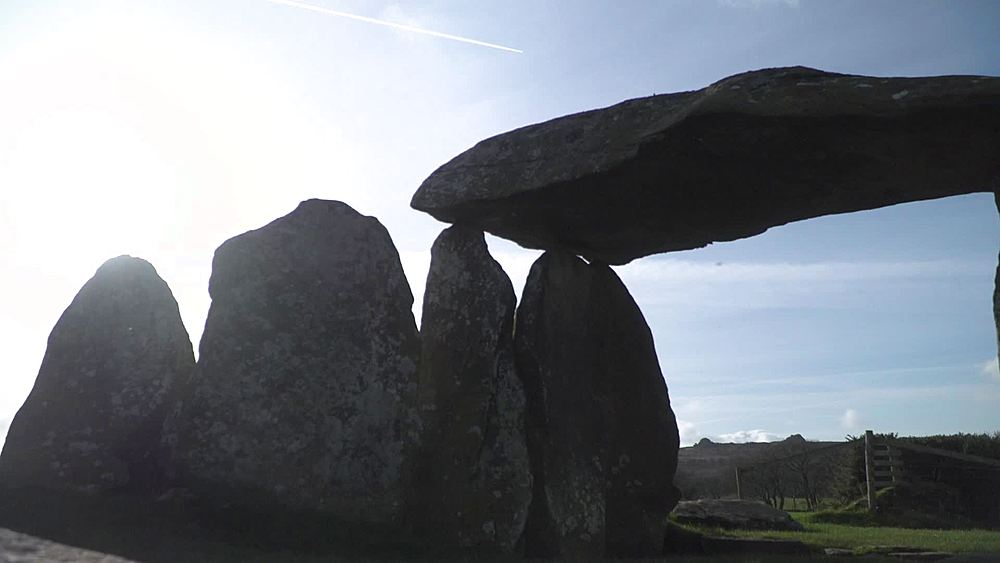 Pentre Ifan ancient burial chamber general shots in silhouette - 1031-2400
