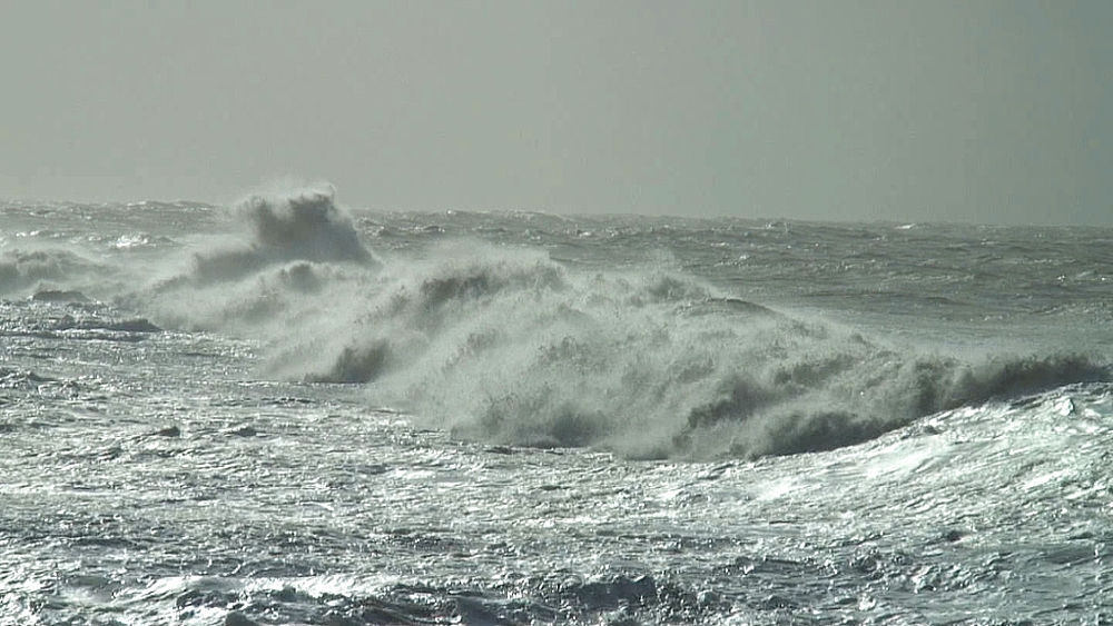 Stormy waves near shore. UK