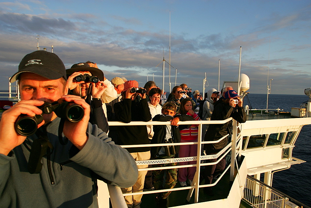 Whale-watchers on the top deck of 30,000 ton ferry, off the coast of France, as they cross the Bay of Biscay.   (RR)