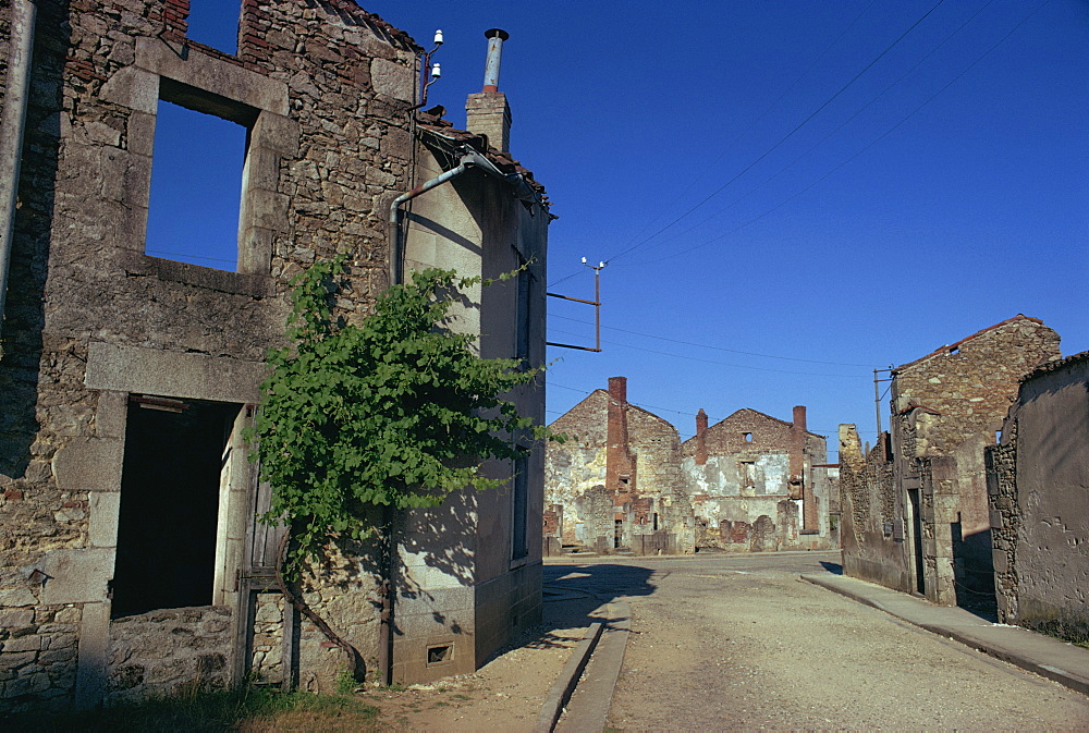 Oradour-sur-Glane, where 650 people were murdered by Germans in June 1944, the town was later burnt, Limousin, France, Europe - 105-2988