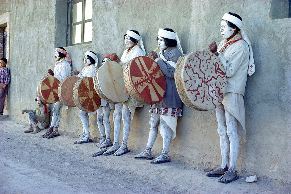 Tarahumaras Indians with full body decoration and ceremonial drums for Easter celebrations, Norogachi, Sierra Madre, Mexico, North America - 105-714