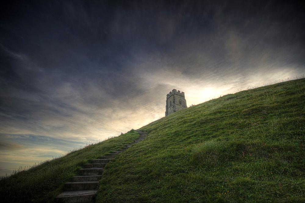 Path up Glastonbury Tor, Somerset, England, United Kingdom, Europe