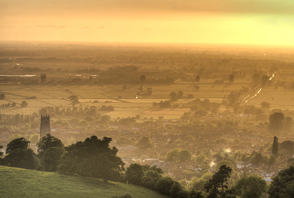 View of Glastonbury during sunset from Glastonbury Tor, Somerset, England, United Kingdom, Europe - 1061-24